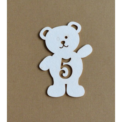 Chipboard - Anemone - Teddy bear with a number 5