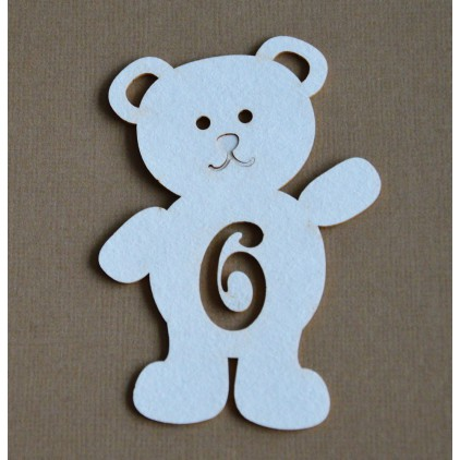 Chipboard - Anemone - Teddy bear with a number 6