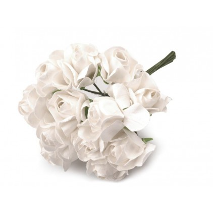 Set of paper flowers - white - 12 pcs