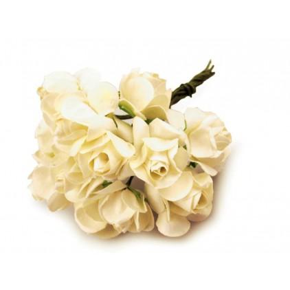 Zestaw papierowych kwiatów - kremowe - 12 sztuk