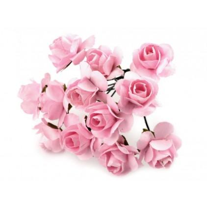 Set of paper flowers - pink - 12 pcs