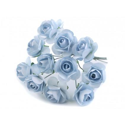 Zestaw papierowych kwiatów - niebieskie - 12 sztuk