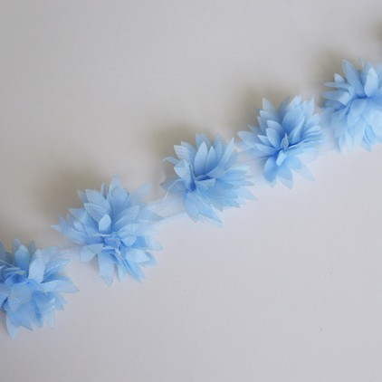 Flowers on tulle 566- blue