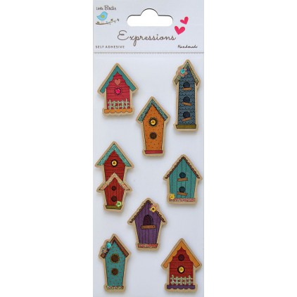 Set of stickers CR37334 - Little Birdie - Kraft printed House - 8 pcs.
