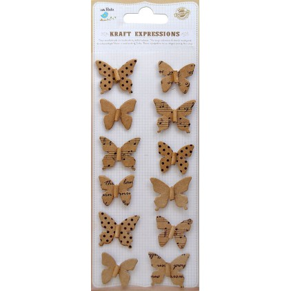 Zestaw naklejek CR39077 - Little Birdie -Beaded Butterflies - 12 sztuk