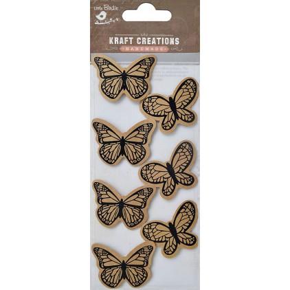 Zestaw naklejek CR39080 - Little Birdie - Printed Butterflies -7 sztuk