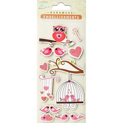 Zestaw naklejek CR39683 - Little Birdie - Valentine love birds - 10 sztuk
