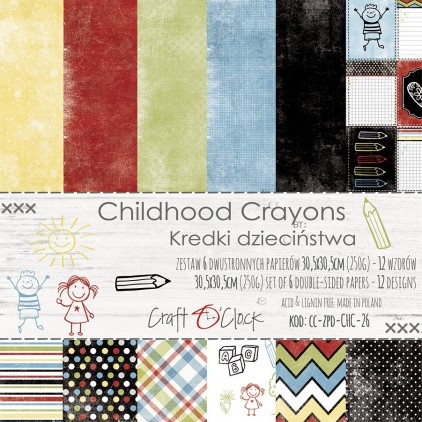 Set of scrapbooking papers - Craft O Clock - Childhood crayons