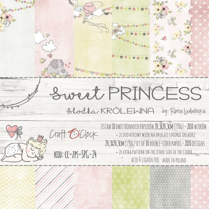 Bloczek papierów do tworzenia kartek i scrapbookingu 20 x 20 - Craft O Clock - Sweet princess