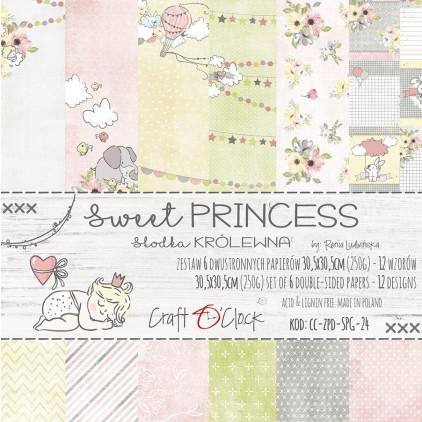 Zestaw papierów do tworzenia kartek i scrapbookingu - Craft O Clock - Sweet princes