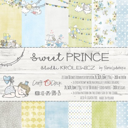 Pad of scrapbooking papers 20x20- Craft O Clock - Sweet prince