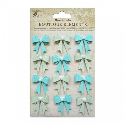 Set of stickers CR45244 - Little Birdie - Pearl Bows Pacific Blue - 12 pcs.