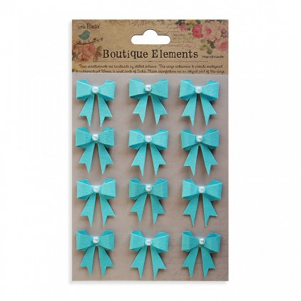 Set of stickers CR365631 - Little Birdie - Pearl Bows Blue - 12 pcs.