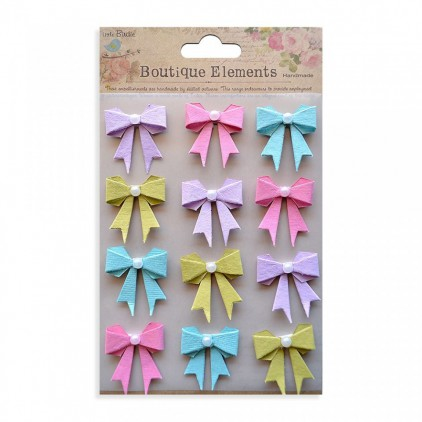 Set of stickers CR34253 - Little Birdie - Pearl Bows French Carnival - 12 pcs.