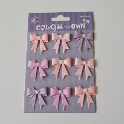 Set of stickers CR34597 - Little Birdie - Pearl Bows  Soft touch  - 9 pcs.