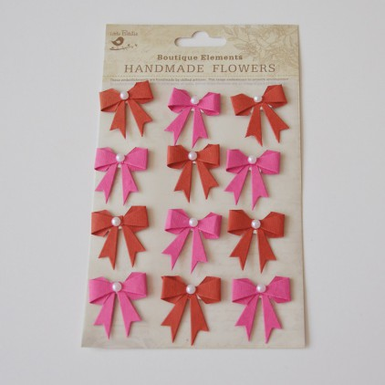 Set of stickers CR45239 - Little Birdie - Pearl Bows Cerise Pink -12 pcs.
