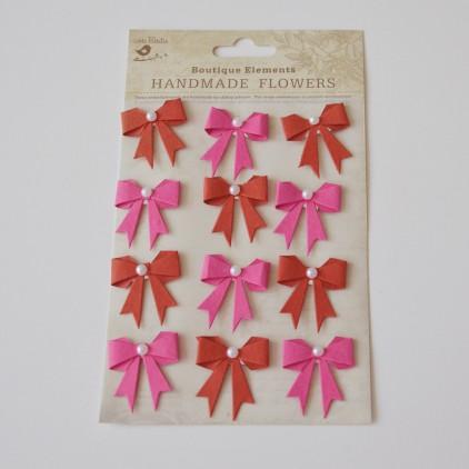 Zestaw naklejek CR45239 - Little Birdie - Kokardki z perełką Cerise Pink - 12 sztuk