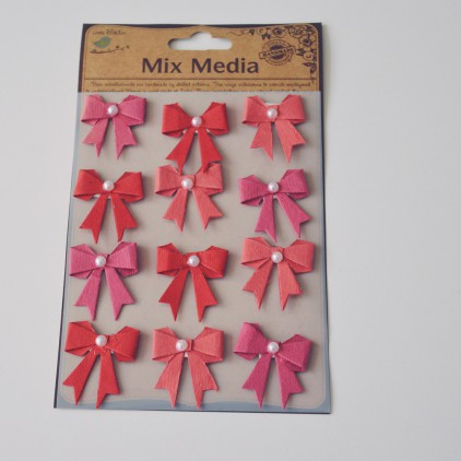 Set of stickers CR34247 - Little Birdie - Pearl Bows Cherry red-12 pcs.