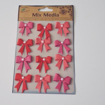 Zestaw naklejek CR34247- Little Birdie - Kokardki z perełką Cherry red - 12 sztuk