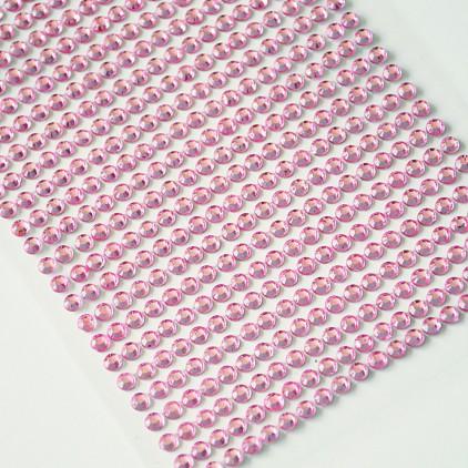 Samoprzylepne ozdoby - kryształki 4mm - różowe