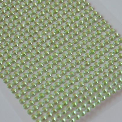 Samoprzylepne ozdoby - kryształki 4mm - jasny zielony