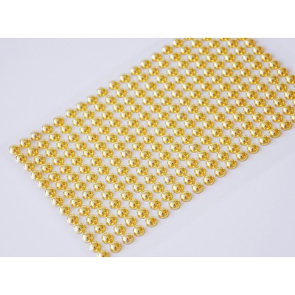 Selfadhesive decorations - half-pearls 6mm - metallic gold