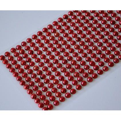 Samoprzylepne ozdoby - półperełki 6mm - metaliczne czerwone