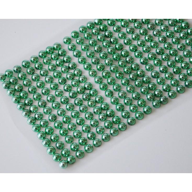 Selfadhesive decorations - half-pearls 6mm - metallic green