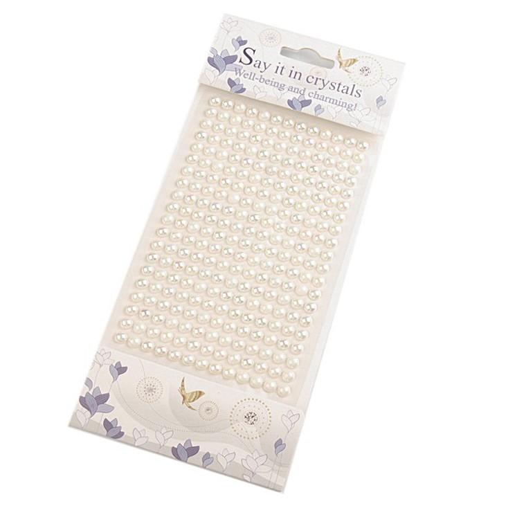 Selfadhesive decorations - half-pearls 6mm - cream - effect AB