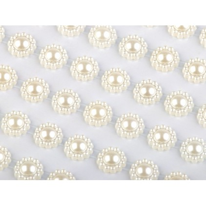 Selfadhesive decorations - flowers 8mm - cream