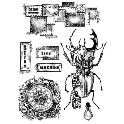 Stemple / pieczątki kauczukowe - Stamperia - Time Machine - 7 sztuk