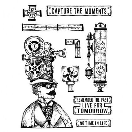 Stemple / pieczątki kauczukowe - Stamperia - Capture the moments - 9 sztuk