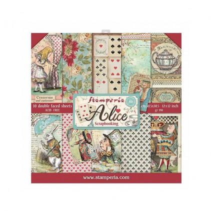 Zestaw papierów do tworzenia kartek i scrapbookingu  - Stamperia - Alice - SBBL52