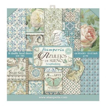 Zestaw papierów do tworzenia kartek i scrapbookingu  - Stamperia - Azulejos de sueńo - SBBL55