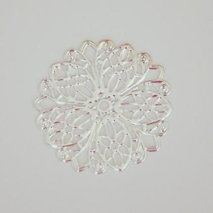 Metalowa rozetka, serwetka, okrągła - srebrna 45 mm