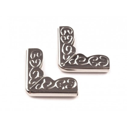 Metal corners, ornament - silver 16x16 mm - 4pcs.