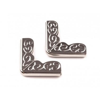 Metalowe narożniki, ornament -srebrne 16x16 mm - 4 szt.