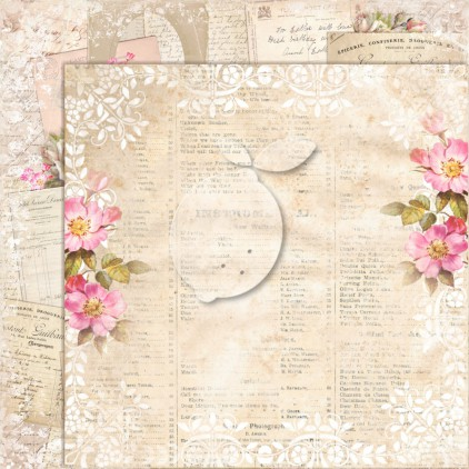 Double sided scrapbooking paper - Lemoncraft House of roses 07