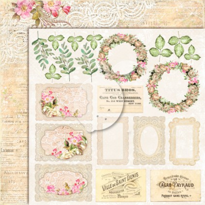 Double sided scrapbooking paper - Lemoncraft House of roses EXTRA 02