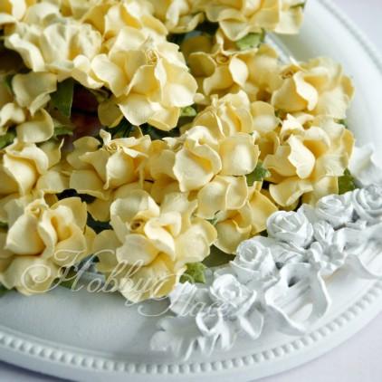 Waniliowo-żółte papierowe róże - zestaw 50 sztuk