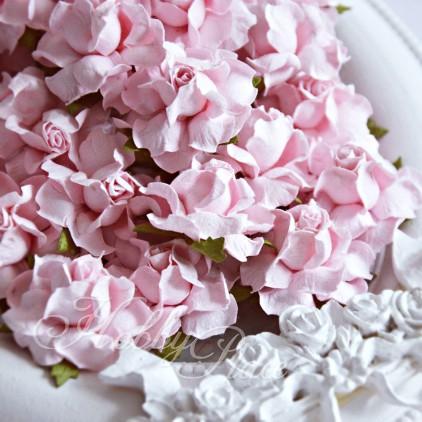 Jasnoróżowe papierowe róże - zestaw 50 sztuk