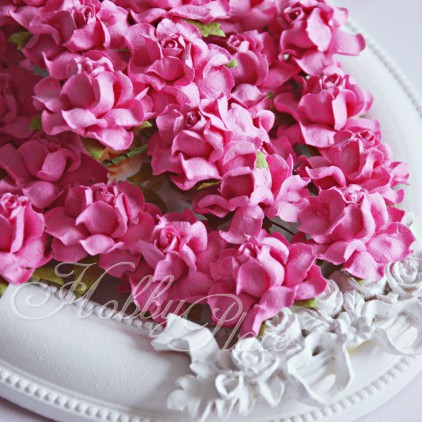 Fuchsia pink paper roses set - 50 pcs