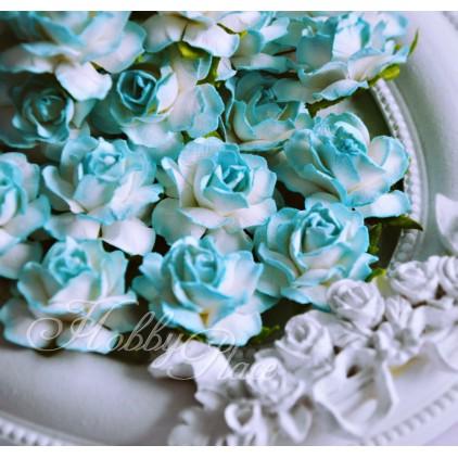 Cieniowane turkusowe róże z papieru - zestaw 50 sztuk