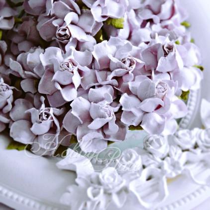 Delikatnie wrzosowe papierowe róże - zestaw 50 sztuk