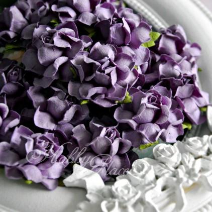 Pięknie fioletowe papierowe róże - zestaw 50 sztuk