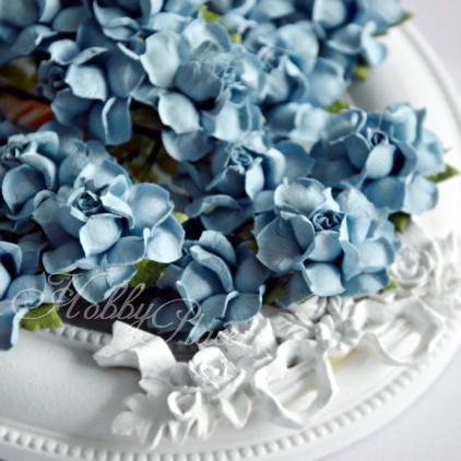 Niebieski denim - papierowe róże - zestaw 50 sztuk