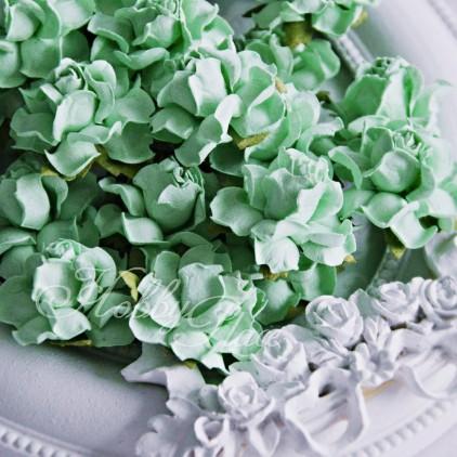 Scrapowa mięta - papierowe róże - zestaw 50 sztuk