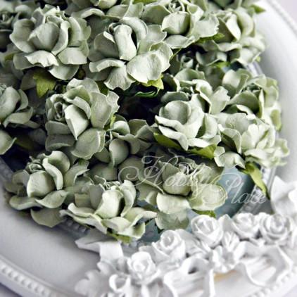 Jasna oliwka - papierowe róże - zestaw 50 sztuk