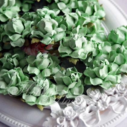 Green apple paper roses set - 50 pcs