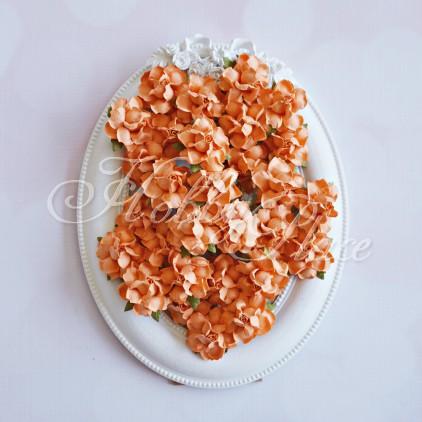 Orange paper roses set - 50 pcs